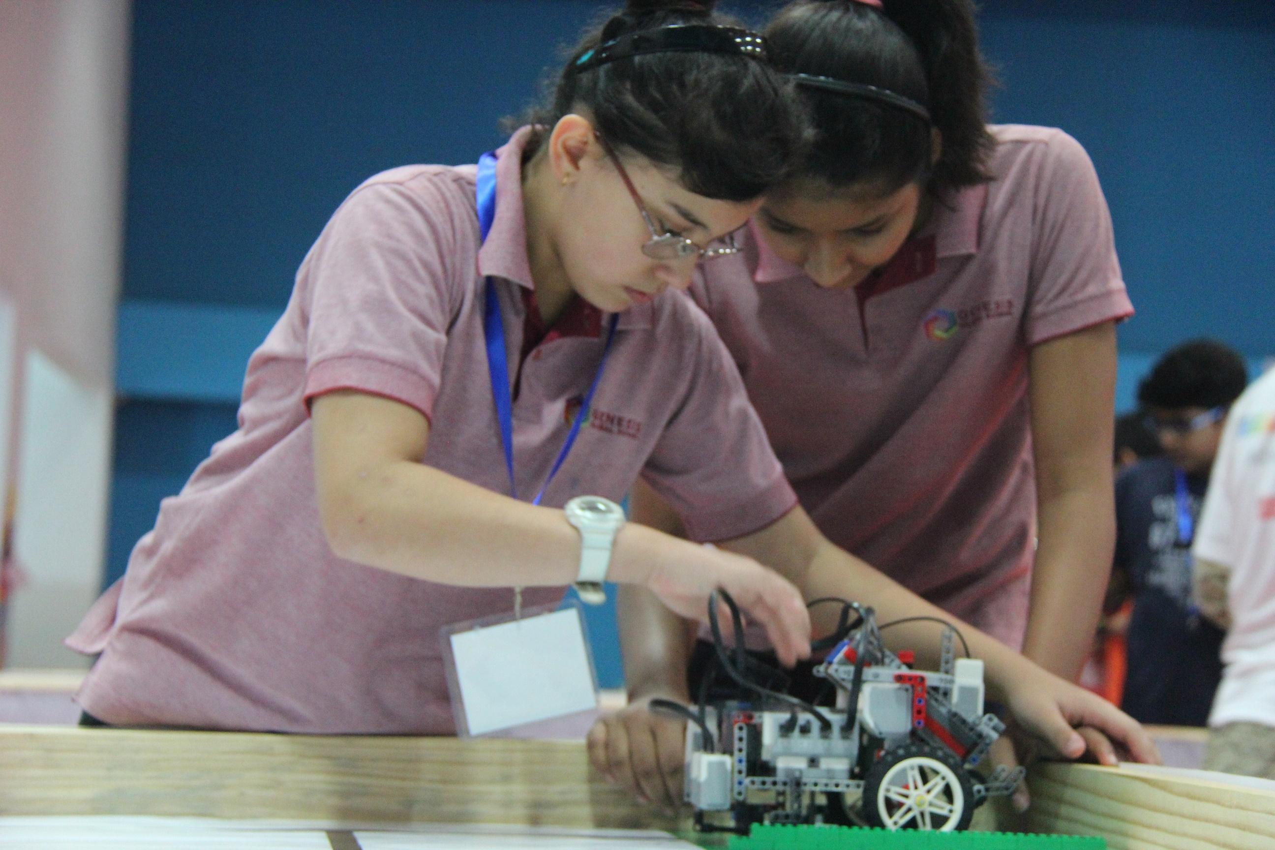 Students at The World Robot Olympiad 2016 at Genesis Global School