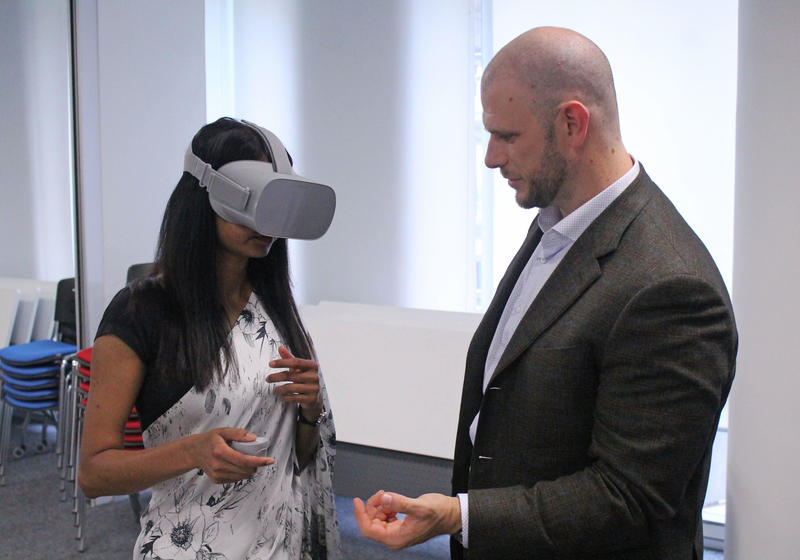 Partcipants getting the Virtual Reality experiences during the workshop session by TRANSFRVR press release