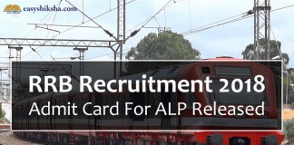 ALP, RRB ALP Admit Card