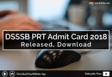 DSSSB PRT, admit card
