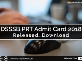 DSSSB PRT, admit card