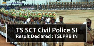 TS SCT, TS SCT Civil Police SI Result