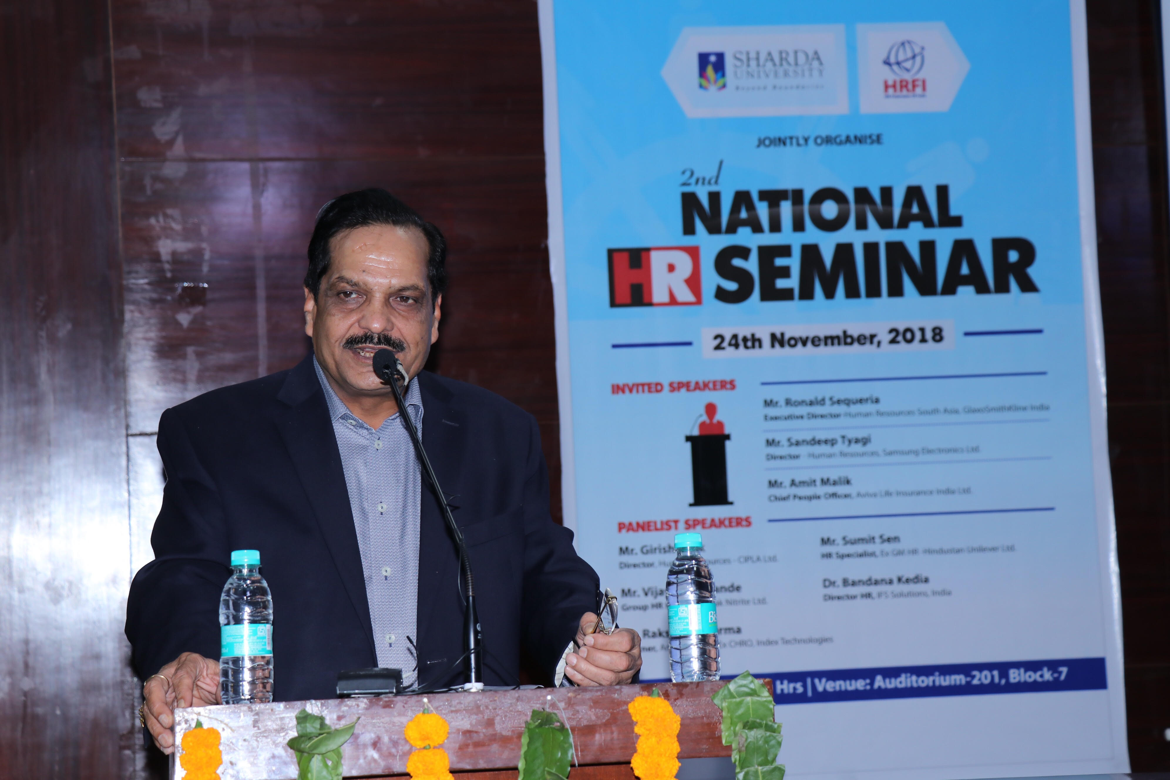 Mr. P.K. Gupta, Chancellor- Sharda University addressing the audience at the National HR Conclave