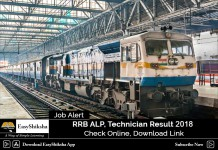 RRB ALP Technician , Result 2018