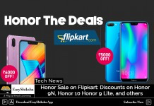 Honor 9N, Honor 10 Honor 9 Lite Sale on FlipKart