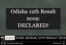 CHSE Odisha 12th Result 2019