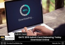 GATE 2019, admit card