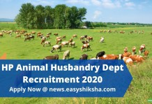HP Animal Husbandry Dept Recruitment