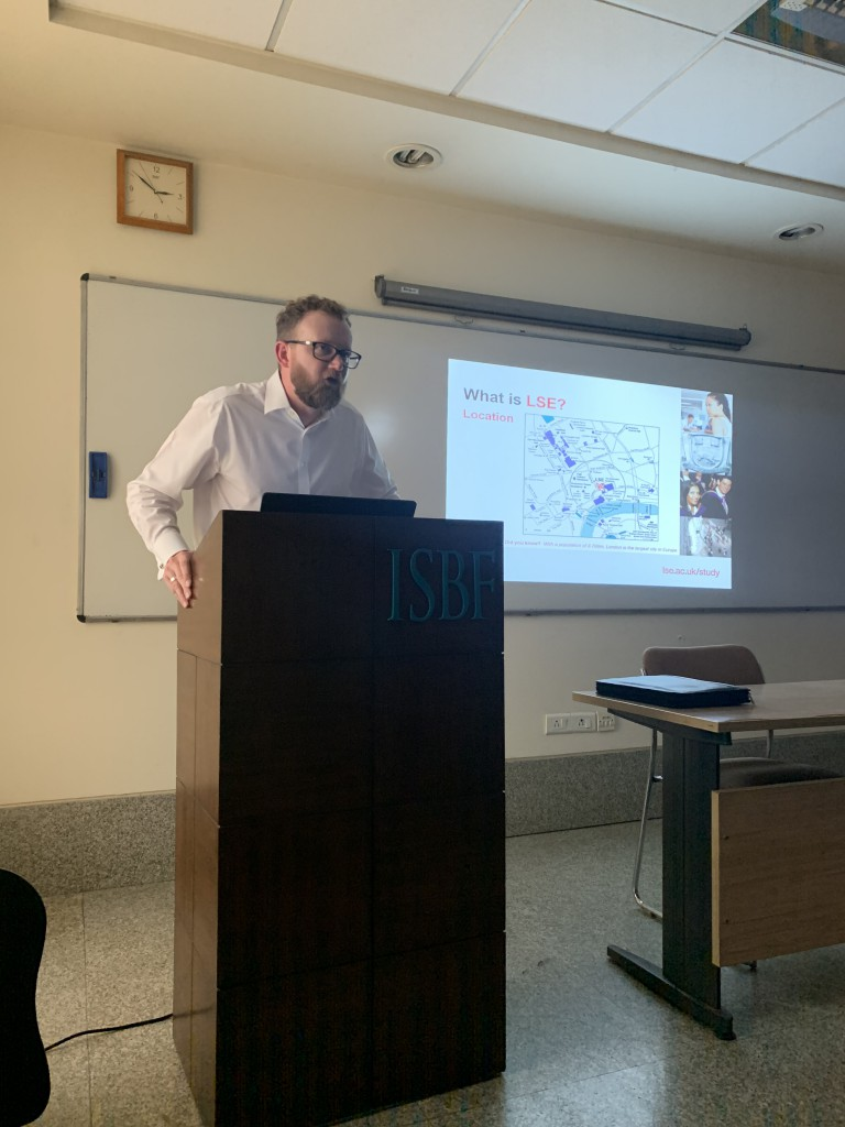 Mr. Will Breare-Hall giving session on 'Destination LSE' at ISBF Campus