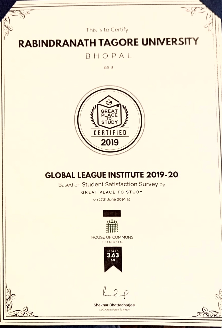 RNTU recieved the Global League Institution Certification at the House of Commons in London