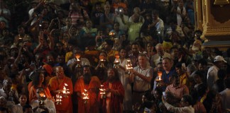 Ganga Aarti at Rishikesh, Gallagher, University Pittsburgh Chancellor